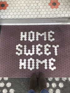 Home Sweet Home Mat at Entrance of Google Home Mini Donut Shop